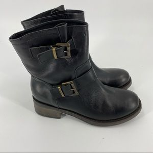 Barney's New York black leather moto boots